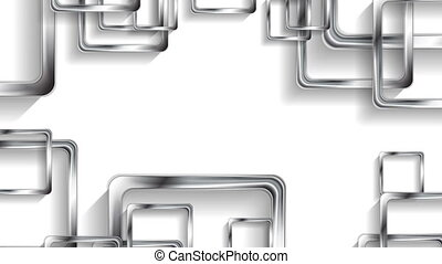 Silver metallic squares on white background video animation