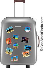 suitcase - silver metallic suitcase on white background