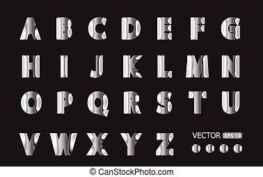 Silver metallic vector fonts set