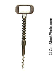 Silver metallic wine corkscrew bottle opener on white background. Kitchenware or cutlery close up.