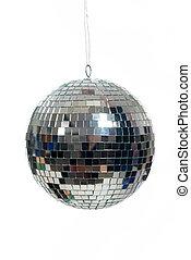 Silver, mirrored Disco ball on white - A silver mirrored ...