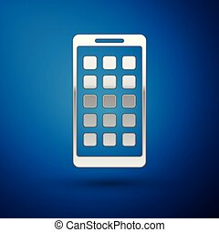 Silver Mobile Apps icon isolated on blue background. Smartphone with screen icons, applications. mobile phone showing screen. Vector Illustration