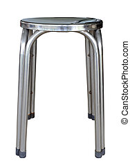 Silver modern chair isolated by stainless steel on white clipping path.