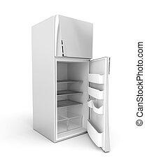 Silver modern fridge with opened door. 3d image.