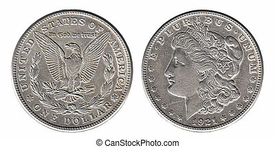 Silver Morgan dollar front and back side isolated on white