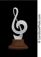 Silver music award in shape of treble clef on dark wooden...