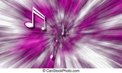 Silver music notes on purple and white starburst