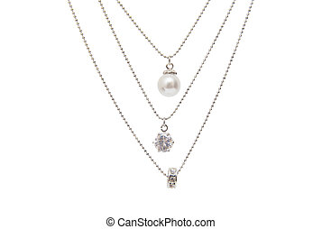 Silver necklace isolated on the white background