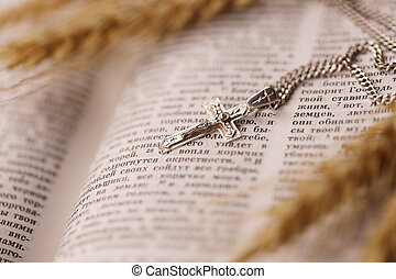 Silver necklace with crucifix cross on christian holy bible book on black wooden table. Asking blessings from God with the power of holiness
