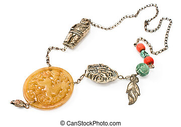 Silver necklace with jade