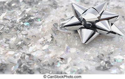 silver node bright paper on confetti