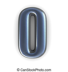 silver number - 0 - 3d rendered illustration of a silver,...