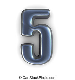 silver number - 5 - 3d rendered illustration of a silver, ...
