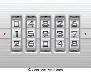 silver number combination lock background