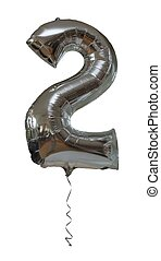 Silver number two party balloon isolated on a white background