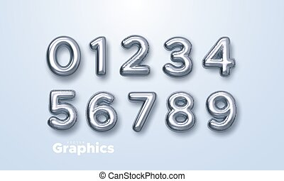 Silver numbers set. Vector 3d illustration. Realistic shiny characters. Isolated digits. Decoration elements for banner, cover, birthday or anniversary party invitation design