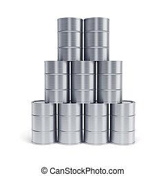 silver oil barrels