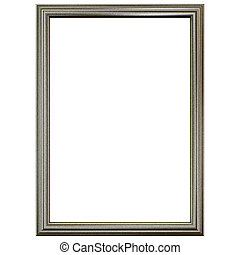 Silver old frame isolated on white.