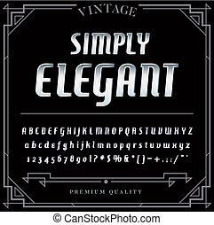 Silver or Chrome Metallic Font Set. Letters, Numbers and Special Characters in Vector