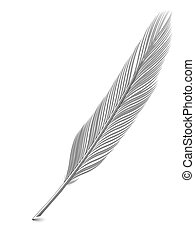 Silver or platinum feather quill over white background. High...