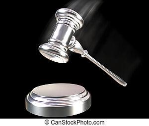 Silver or Platinum gavel - A silver coloured gavel striking...