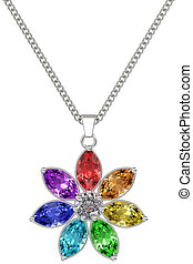 Silver or platinum pendant with colorful gemstones on chain isolated on white background