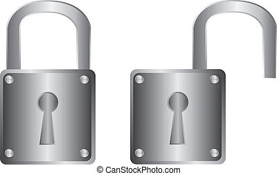 padlock - silver padlock isolated over white background. ...