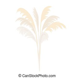 Silver Pampas grass sheaf. Card template. copy space. Vector...