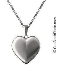 Silver pendant in shape of heart on chain isolated on white....