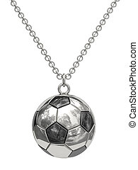 Silver pendant in shape of soccer ball on chain isolated on...
