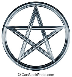 Silver pentagram - Isolated illustration of an ornate silver...