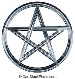 Isolated illustration of an ornate silver pentagram