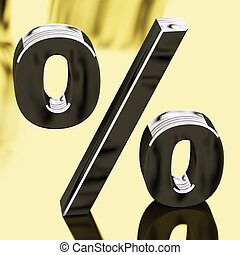 Silver Percentage Sign Representing Finance And Interest -...