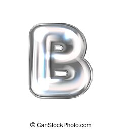 Silver perl foil balloon, inflated alphabet symbol B