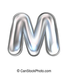 Silver perl foil balloon, inflated alphabet symbol M