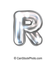 Silver perl foil balloon, inflated alphabet symbol R