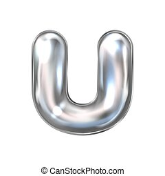 Silver perl foil balloon, inflated alphabet symbol U