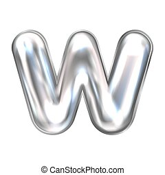 Silver perl foil balloon, inflated alphabet symbol W