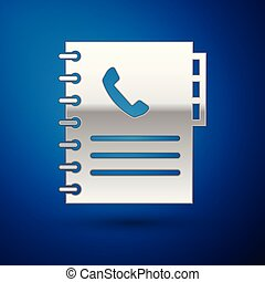 Silver Phone book icon isolated on blue background. Address book. Telephone directory. Vector Illustration