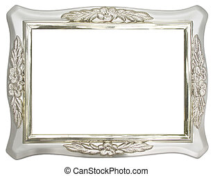 Silver Photo frame over white background