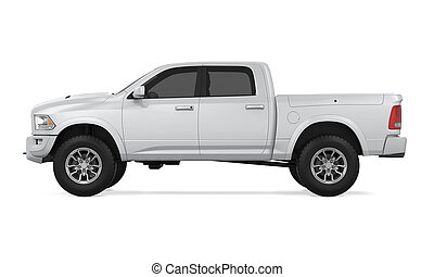 Silver Pickup Truck isolated on background. 3D render