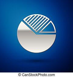 Silver Pie chart infographic icon isolated on blue background. Diagram chart sign. Vector Illustration