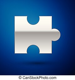 Silver Piece of puzzle icon isolated on blue background. Modern flat, business, marketing, finance, internet concept. Vector Illustration