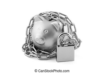 Silver piggy bank secured with padlock isolated on white with clipping path