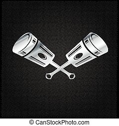 silver pistons on metal background