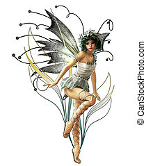 Silver Pixie - A charming fairy with wreath and wings