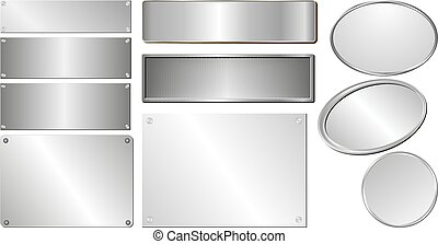 silver plaques - set of isolated silver and metallic plaques
