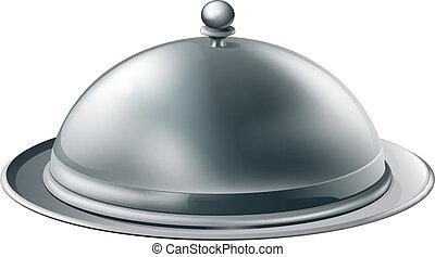 Silver platter illustration - A fine dining silver cloche...