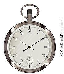 Broken pocket watch. A broken old pocket watch isolated on ...