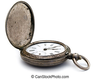 silver pocket watch - closed old silver pocket watch on a...